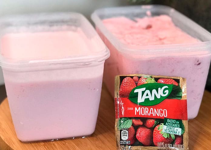 Receita de sorvete caseiro feito com suco tang