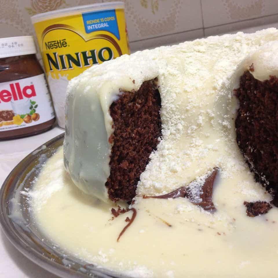 Receita de bolo cascata de leite ninho
