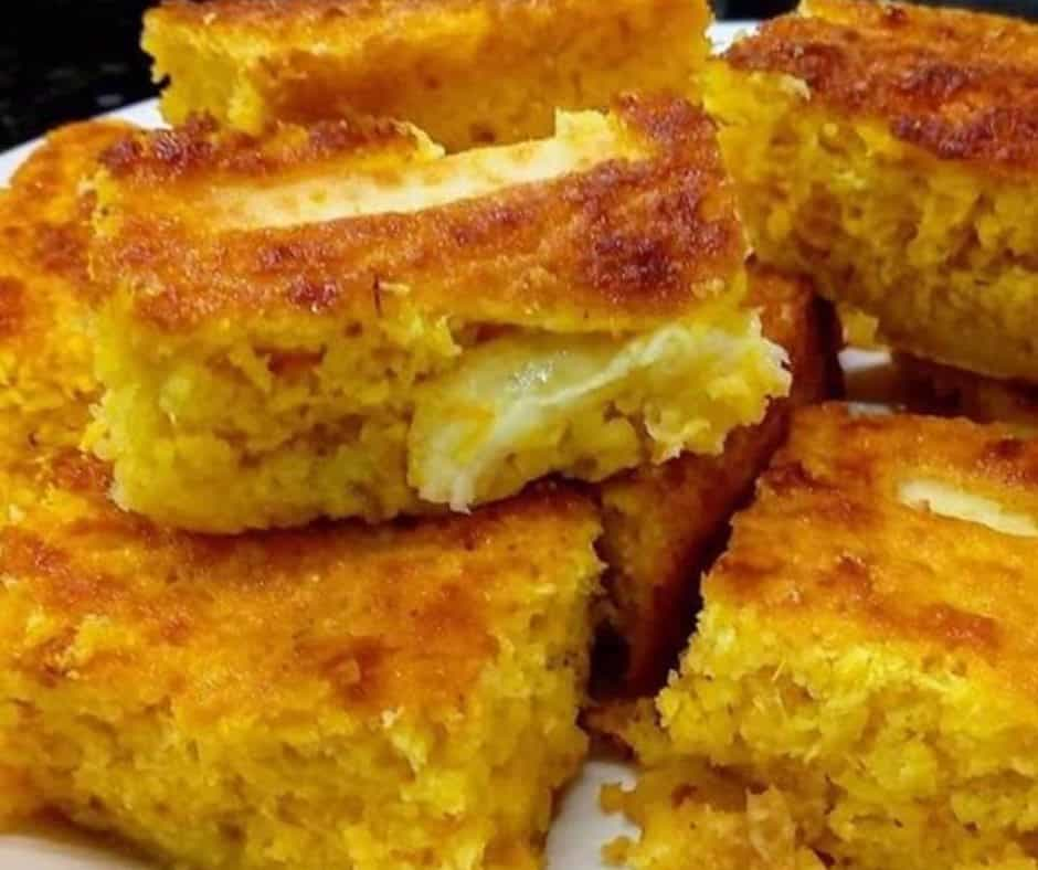 Receita de Bolo pamonha com queijo