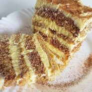 Receita de Torta de banana com brigadeiro branco