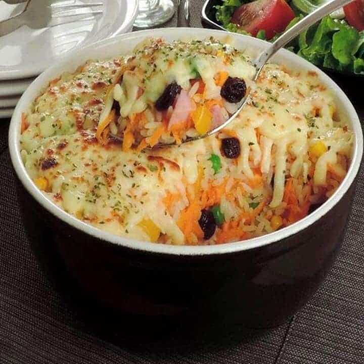 Receita de arroz de forno colorido