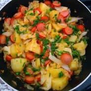 Receita de Refogado de salsicha, batata e repolho