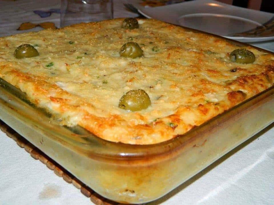 Receita de Torta de bacalhau gratinado