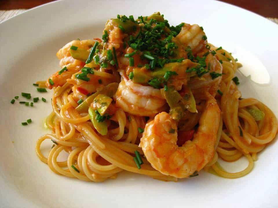 Receita de espaguete com camarão