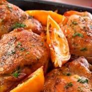 Receita de Sobrecoxas de frango ao Molho de Laranja