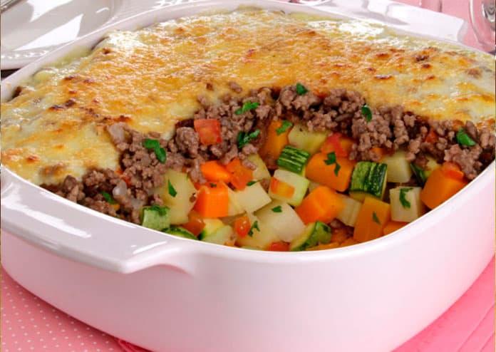 Receita de Gratinado de legumes com carne moída