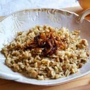 Receita de Mjadra (Arroz com lentilhas)