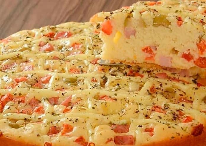 Receita de Torta-pizza de presunto e queijo